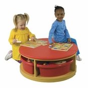 Reading Sectional-2 Piece Round Bench with 4 Trays by Early Childhood Resources