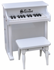 Traditional Spinet Piano in White 25 Key by Schoenhut