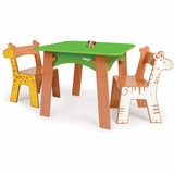 Tree Table with Zebra and Giraffe Chairs  by P'kolino