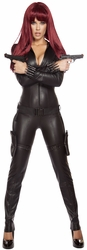 Alluring Assassin Catsuit Costume, Black Jumpsuit, Gangster Women Catsuit