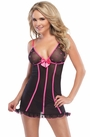 Black and Fuchsia Mesh Chemise