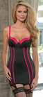 Black and Fuchsia Satin Chemise