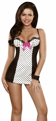 Black and White Chemise Set, Retro Chemise, Sexy Lingerie Chemise, Bedroom Costume Mini Dress