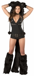 Deluxe Black Cat Romper Costume, Cat Romper, J Valentine CS297, Black Romper
