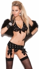 Black Dot Bra and Garter Set