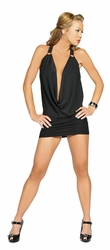 Clubwear, Roma Costume 3134, Deep Plunge Sexy Dress, Cowl Neck Back Chained Mini Dress