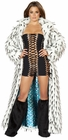 Black Spiked Fur White Long Coat