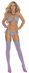 Striped Tie Side Thong Set, Thong Set and Stockings, Exotic Lingerie Set