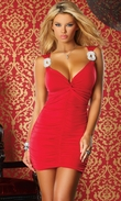 Red Mini Dress, Clubwear, Mini dress with rhinestone strap