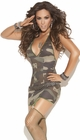 Camouflage Mini Lingerie Dress with Garters