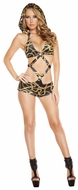 Printed Monokinis, Chains Printed Monokini With Detachable Hood, Rave Monokini