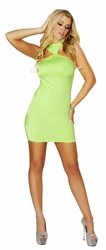 Lime Clubbing Mini Dress, Cropped Mini Dress with Rhinestone, White Open Back Mini Dress