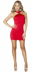 Red Clubbing Mini Dress, Cropped Mini Dress with Rhinestone, Red Open Back Mini Dress