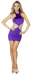 Cropped Top Open Back Mini Dress with O Ring, Black Cropped Mini Dress, Purple Mini Dress