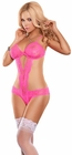 Cutout Neon Pink Lace Teddy