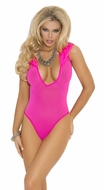 Elegant Moments 1576, Deep V Hooded Teddy, Neon Pink Hooded Teddy