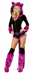 Hot Pink Tiger Romper, Fury Costume, Sexy Furry Halloween