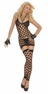 Black Three Piece Diamond Net Mini Dress, Elegant Moments 1559, Black Cami Lingerie