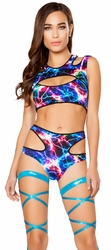 EDC Festival Outfit, EDM Costumes, EDC Festival Cutout Top and Shorts