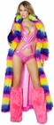Faux Fur Rainbow Long Coat