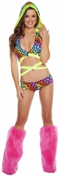 Floral Trance Wrap Around Hooded Top And Shorts, Wrap Around Bikini Top with Hood, Hooded Bikini