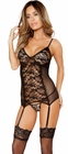 Gartered Black Chemise Set