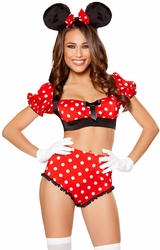 Girlie Mouse Costume, Mickey Mouse Costume, Mouse Top and High waisted Shorts
