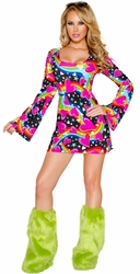 Retro Costume, Adult Hippie Costume, Go Go Girl Halloween Costumes, 60's, 70's, 80's Retro Costumes, Hippie Fashion