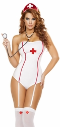 Nurse Costume, Strapless Nurse Costume, Halloween Nurse Romper 4758