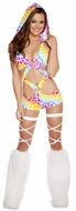 Printed Monokinis, Hearts Printed Monokini With Detachable Hood, Rave Monokini