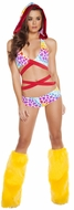 Hearts Print Wrap Around Hooded Top And Shorts, Wrap Around Bikini Top with Hood, Hooded Bikini