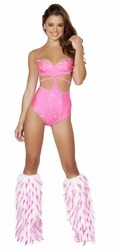 High Waisted Studded Hot Pink Romper, Studded Hot Pink Romper Monokini with Rhinestones, Rave Wear