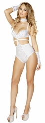 High Waisted Studded White Romper, Studded White Romper Monokini with Rhinestones, Rave Wear