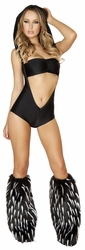 Hooded Romper And Tube Top, Open Front Romper, Black Romper and Top