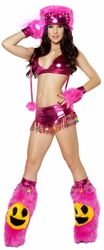 Happy Face Rave Set, Beaded Skirt and Halter Top, Carnival Outfit, Women's Carnival Top and Skirt