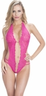 Hot Pink Crotchless Lace teddy With Rhinestones