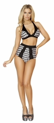 Houndstooth Halter Top and High Waisted Shorts, Houndstooth Print Top and Banded Shorts, Houndstooth Top and Shorts