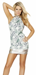 Party Mini Dress, Halter Mini Dress, Clubbing Dress, Money Dress