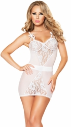 Lace Chemise and G String Lingerie Set, White Chemise, Black Lace Chemise