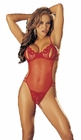 Lace Peek a Boo Crotchless Teddy