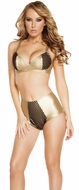 Fishnet Bra Set, Leatherette Bikini Set, Bra and High Waisted Shorts