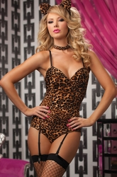 Leopard Kitty Teddy Bedroom Costume, Bedroom Costumes, Sexy Kitty Lingerie