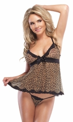 Animal Print Babydoll, Leopard Mesh Babydoll, Coquette Lingerie