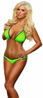 Lime Neon Triangle Top and Thong Lingerie