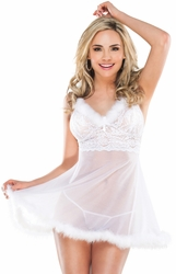 Mesh and Lace White Babydoll, Bridal Lingerie, Coquette 1979