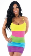 Neon Striped Mini Dress, Exotic Dance Wear, Multicolor Glowstick Backless Mini Dress