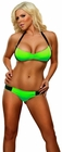Neon Lime Bandeau Bra and Thong Lingerie