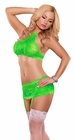 Neon Lime Lace Bra and Skirt Set
