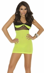 Banded Fishnet Mini Dress, Neon Mini Dress, Bedroom Mini Dress