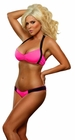 Neon Pink Bandeau Bra and Thong Lingerie